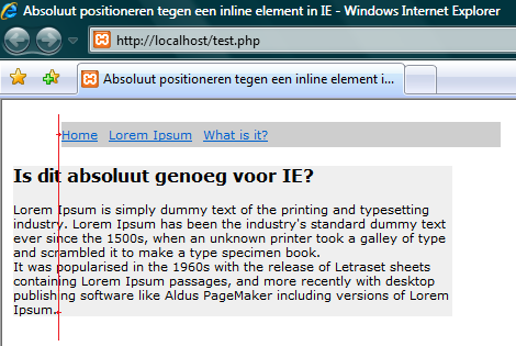 Hoe absoluut vindt IE position: absolute?