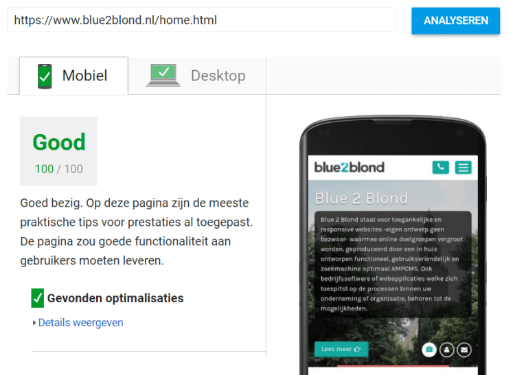 100% PageSpeed score en Mobilegeddon