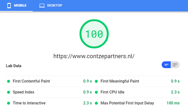 Pagespeed score voor de website van Contzé & Partners
